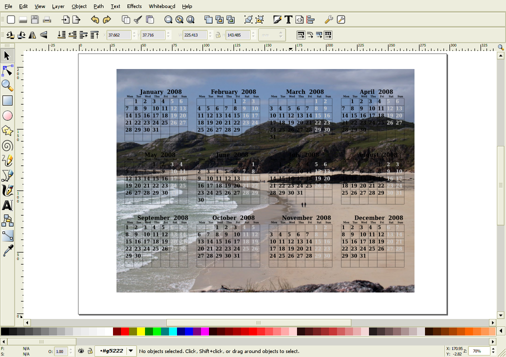 pcal calendar with background image in Inkscape